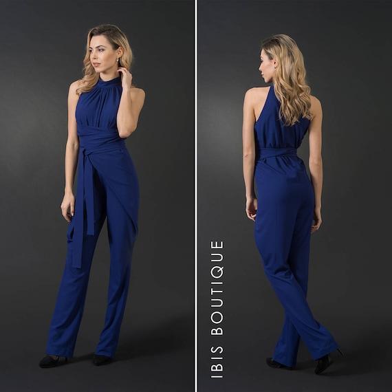 Royal Blue Woman Jumpsuit Wrap Arround Jumpsuit Plus Sizes Etsy