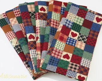 Americana Dinner Napkins - Country Napkins - Vintage Patchwork Napkins - Rustic, Farmhouse Table Decor - Reusable Cloth Napkins - Set of 6