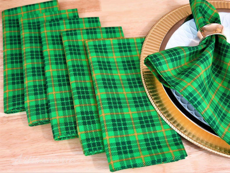 Irish Plaid Cloth Dinner Napkins - St  Patrick's Day Napkins - Tartan Plaid  Table Linens - Plaid Table Decor - Reusable, Set of 4 or 6