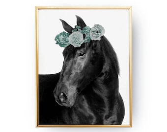 Black Horse Print, Flower Crown, Boho Desert, Horse Illustration, Animal Print, Watercolor Art, Bohemian Art, Hippie Decor, Minimal Print