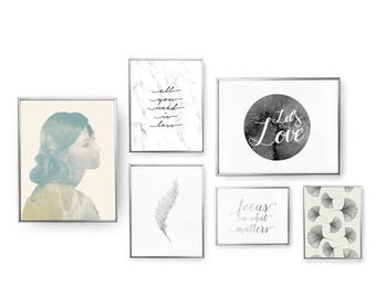 SET of 6 Prints, Let's Love Set, All You Need Is Less, Minimalist Art, Beautiful Girl Poster, Home Decor, Gold Foil Print, Feather Poster