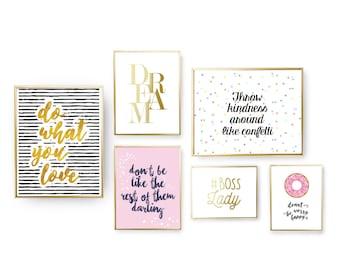 SET of 6 Prints, Kindness Set, Funny Poster, Lady Boss, Gold Foil Print, Positive Attitude, Donut Worry Print, Female Poster, Home Decor