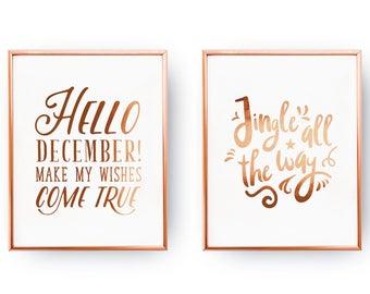 Hello December Jingle All The Way Winter Decor Gold Foil Print Set Of 2 Prints Christmas Holiday Sign Xmas Gift Art