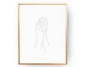 Feminine Hands Print, Female Body, Black And White, Sketch Art, Single Line, Minimalist Woman Print, Minimal Art, Simple Fashion, Woman Art