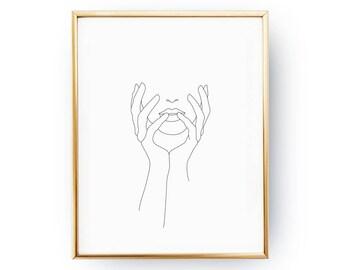 Covered Face Print, Single Line, Minimalist Face Print, Minimal Art, Simple Fashion, Woman Art, Female Body, Black And White,Sketch Wall Art