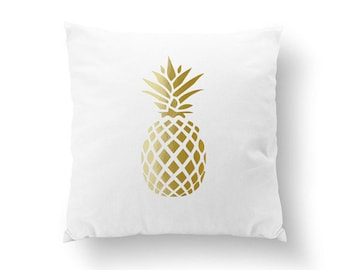 Gold Pineapple Pillow, Pineapple Pillow, Home Decor, Cushion Cover, Throw Pillow, Bedroom Decor, Modern Pillow, Bed Pillow, Gold Pillow.