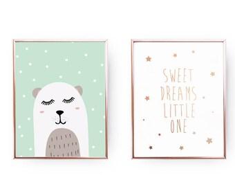 Set Of 2 Prints, Sweet Dreams Little One, Home Decor, Bear Illustration, Baby Art, Kids Decor, Baby Room Decor, Gold Foil Print, Nursery Art
