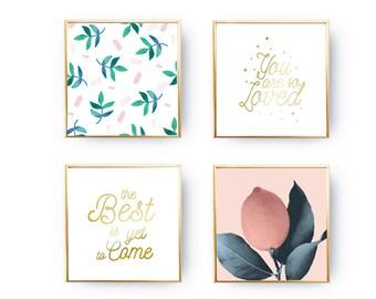 SET of 4 Prints, Leaves Print, You Are So Loved, Home Decor, Gold Foil Print, Botanical Art, Lemon Set, Inspirational Quote, Plant Decor