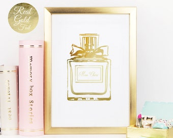 Perfume Print, Gold Perfume Print, Real Gold Foil, French Decor, Fashion Art, Paris Decor, Perfume Poster, Vanity Decor, Perfume Bottle.