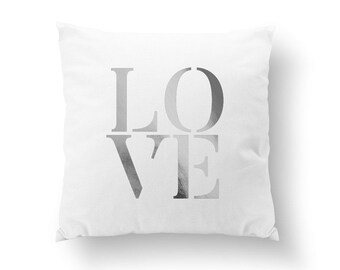 Love Pillow, Typography Pillow, Gold Love Pillow, Home Decor, Cushion Cover, Throw Pillow, Bedroom Decor, Bed Pillow, Decorative Pillow,