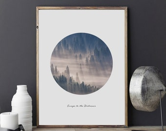 Forest Print, Escape to the Unknown, Forest Poster, Minimalist Wall Art, Mountain Poster, Circle Art, Landscape Print, Forest Illustration,