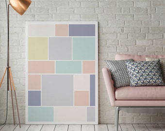 Abstract Print Poster, Pastel Print Poster, Pastel Brick, Geometric Print Poster, Minimalist Poster, Pastel Wall Art, Pastel Abstract, 11x17