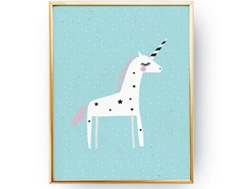 Unicorn Poster, Pastel Unicorn Print, Nursery Print, Wall Art, Kids Room Decor, Baby Print Poster, Nursery Room Decor, Unicorn Kids Poster,