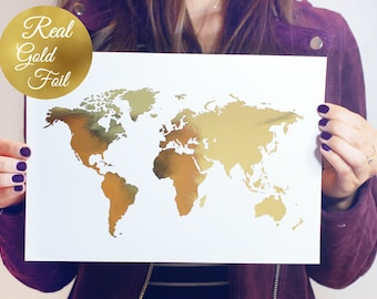 Gold foil world map etsy world map poster real gold foil map print gold foil world atlas geography art print gold map poster gold art gold wall decor gumiabroncs Choice Image