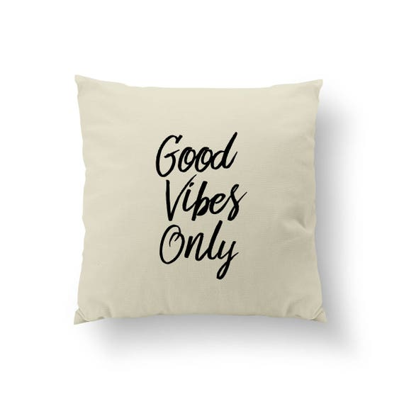 Good Vibes Only Pillow Typography Pillow Home Decor Gold