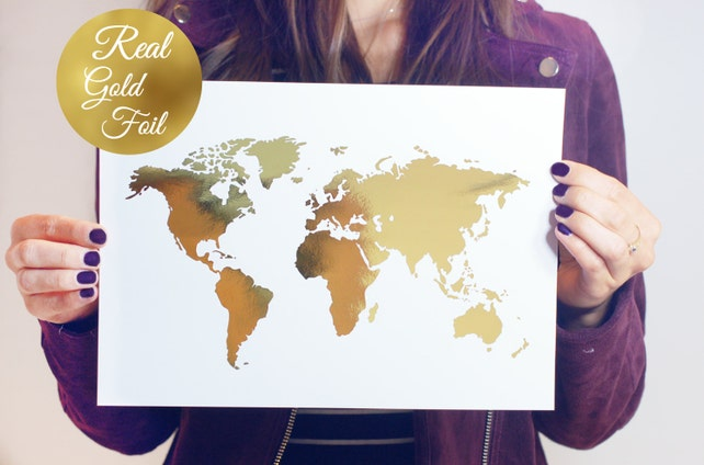 World map poster real gold foil map print gold foil world etsy image 0 gumiabroncs Gallery