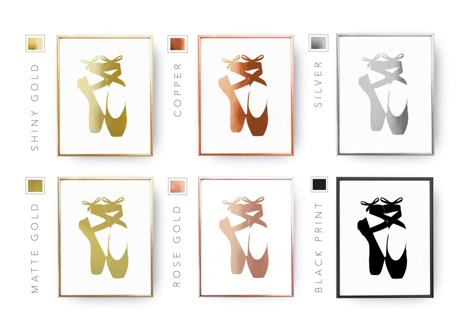 ballet shoes print, real gold foil print, gold shoes print, ballet dancer, nursery decor, girls room decor, ballet wall art, bed