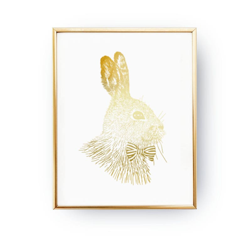 Pleasing Rabbit Bow Print Teen Gift Teen Boy Room Decor Rabbit Decor Real Gold Foil Print Teen Print Teenage Wall Art Teenager Inspiration Download Free Architecture Designs Itiscsunscenecom