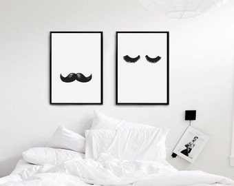 Mr and Mrs Lashes Moustaches Print, Her Poster, Bedroom Decor, Wall Decor, Minimal Print, Fashion Print, Wall Decor For Couple, Bedroom Art.
