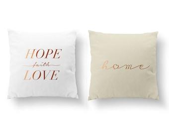 SET of 2 Pillows, Hope Faith Love Pillow, Home Heart Pillow, Nursery Decor, Throw Pillow, Kids Pillow, Cushion Cover, Gold Decorative Pillow
