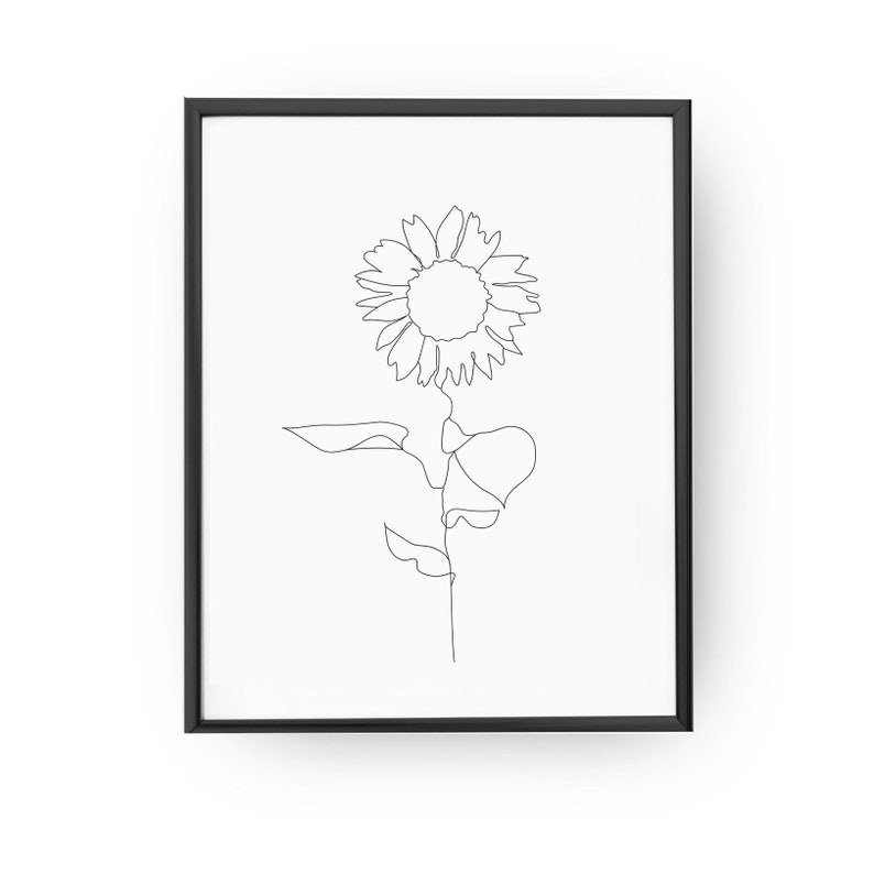 17bd68b93e380 Sonnenblumen-Druck Minimal Art Line Drawing Home Decor