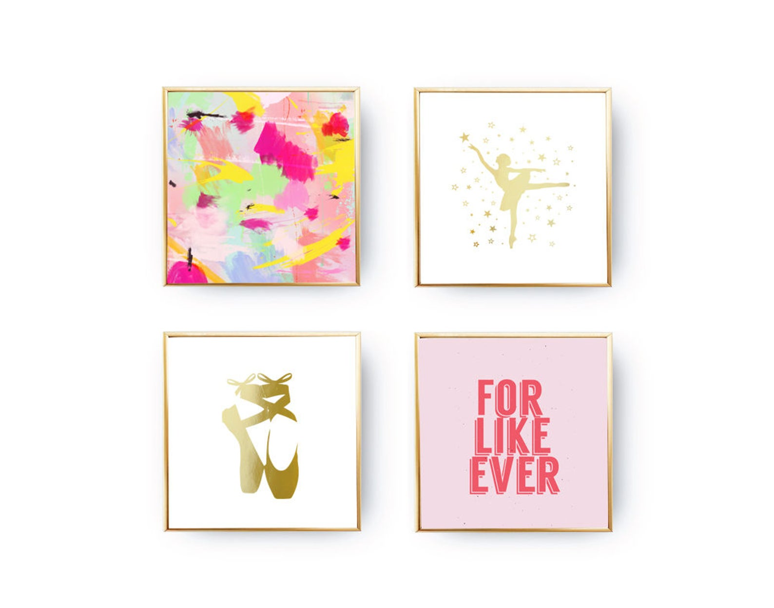 set of 4 prints, girls room set, love quote, ballet wall art, ballerina print, ballet shoes, home decor, gold foil print, colorf