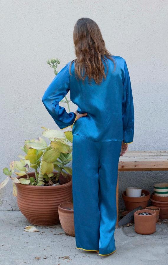 ON SALE** Vintage blue silk pajama set - image 3