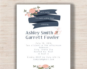 Floral Navy & Coral Couples Wedding Shower - PRINTABLE - Digital File