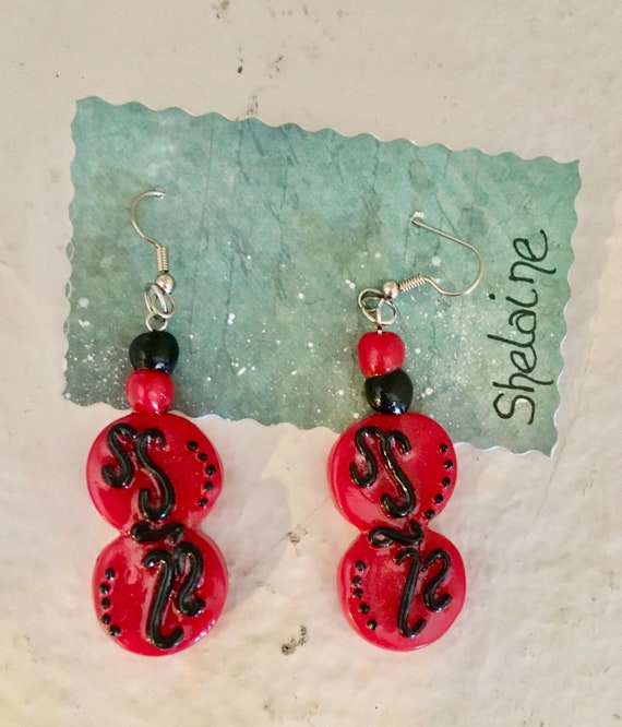 Dangle Red and Black Polymer Clay Pierced Earrings