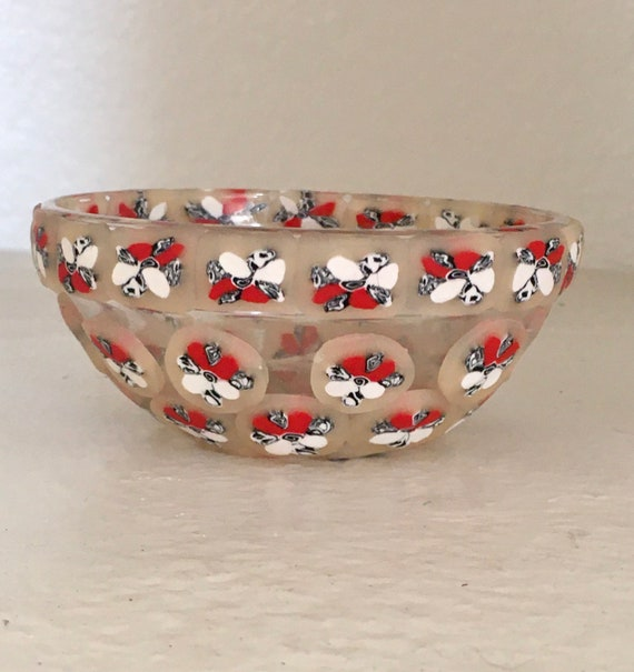 Decorated Glass Trinket Bowl Red Black White Flowers