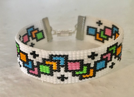 Neon Color Squares Loom Beaded Bracelet