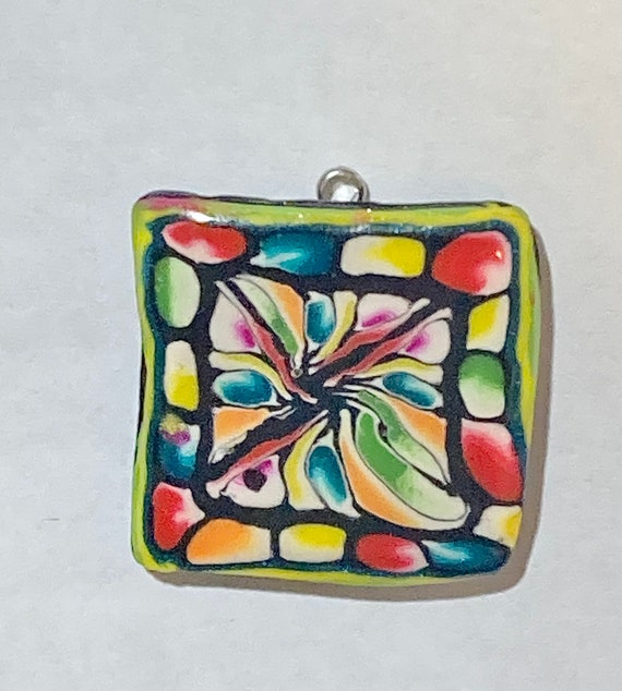 Stained Glass Look Polymer Clay Pendant