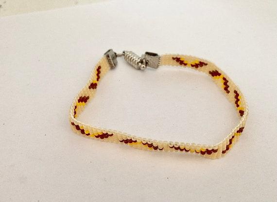 Yellow and Red Loom Beaded Narrow Bracelet