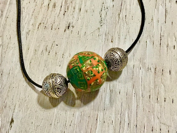 Three Bead Necklace Clay Multi and Silver Necklace