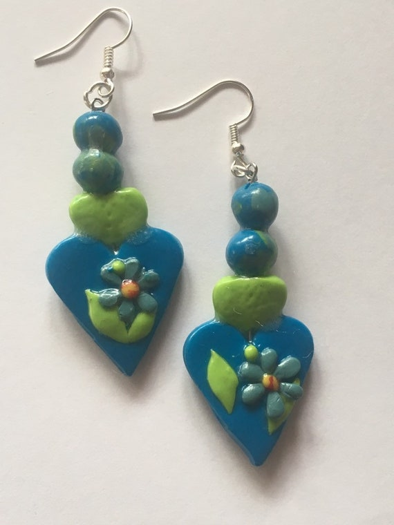 Blue /Green Floral Heart Dangle Pierced Earrings