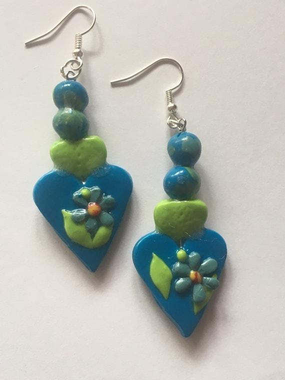 Blue /Green Floral Heart Dangle Pierced Earrings