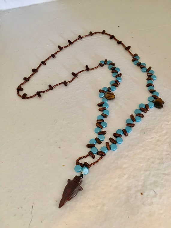 Southwest Inspired Turquoise and Copper Beaded Necklace with Arrowhead Pendant