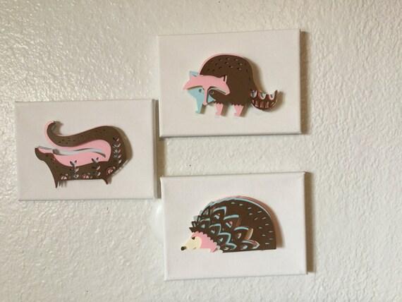 3 pc Dimensional Animal Wall Art