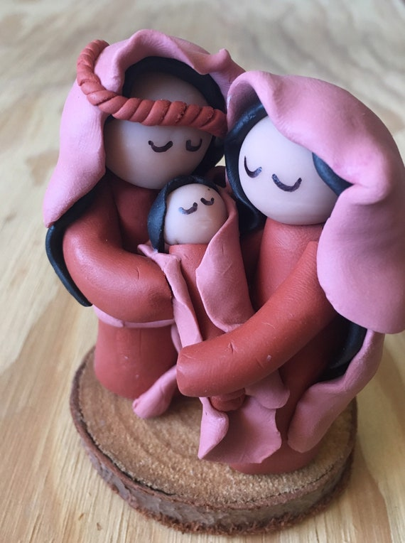 Nativity Rust and Pink Clay One Piece on Wood Base