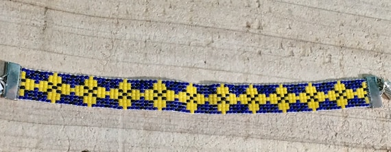 Loom Beaded Medium Bracelet Navy and Yellow