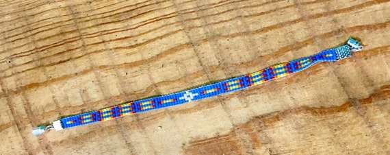 Loom Beaded Vivid Blue Narrow Bracelet