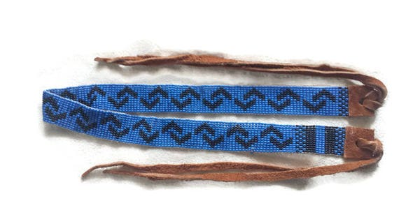 Blue and Black Loom Beaded Adult Hatband