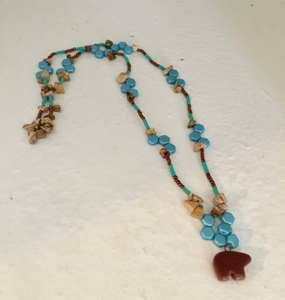 Southwest Inspired Turquoise and Copper Beaded Necklace