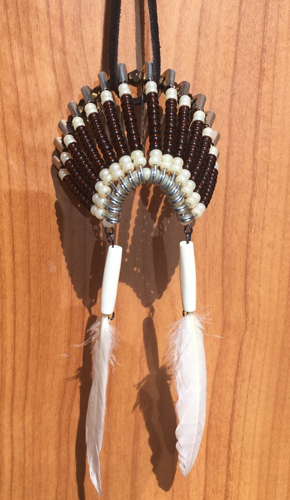 War Bonnet Brown Beaded Car Mirror Hanger