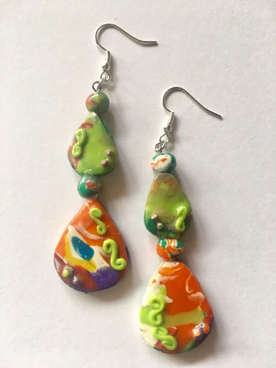 Multi Color Pierced  Dangle Earrings