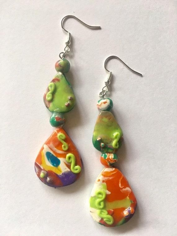 Multi Color Pierced  Dangle Earrings