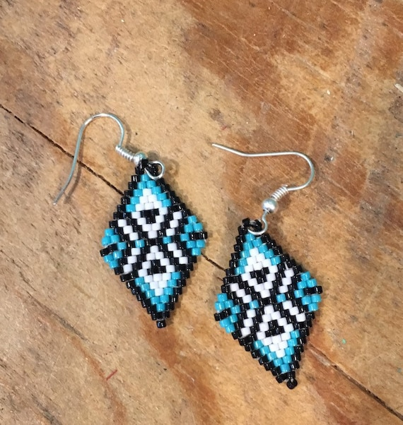 Turquoise Brickstitch Handcrafted Diamond Shape Earrings