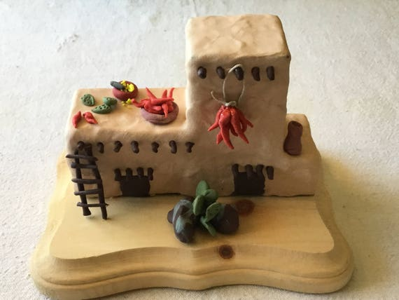 Southwestern Pueblo Style House Miniature on Wood Base