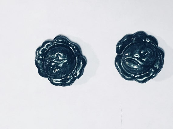 Black Irridescent Rose Earrings