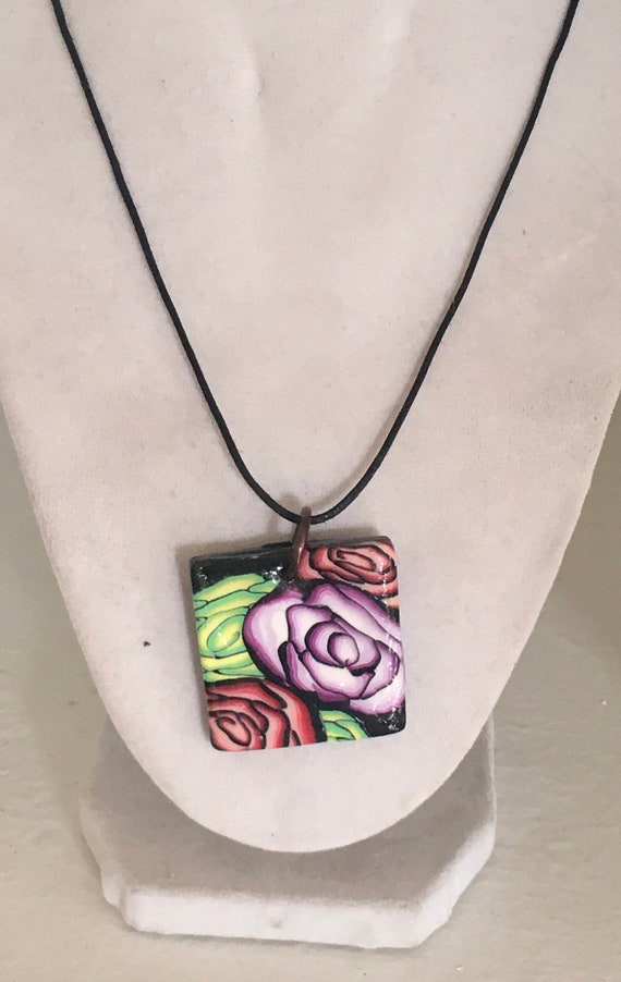 Square Roses Polymer Clay Pendant Necklace
